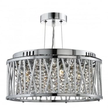 ELISE - 3 Light Ceiling Flush/Pendant Chrome Clear Crystal Bu