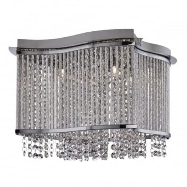 ELISE - 4 Light Square Ceiling Flush Ceiling Chrome Clear Crystal Bu
