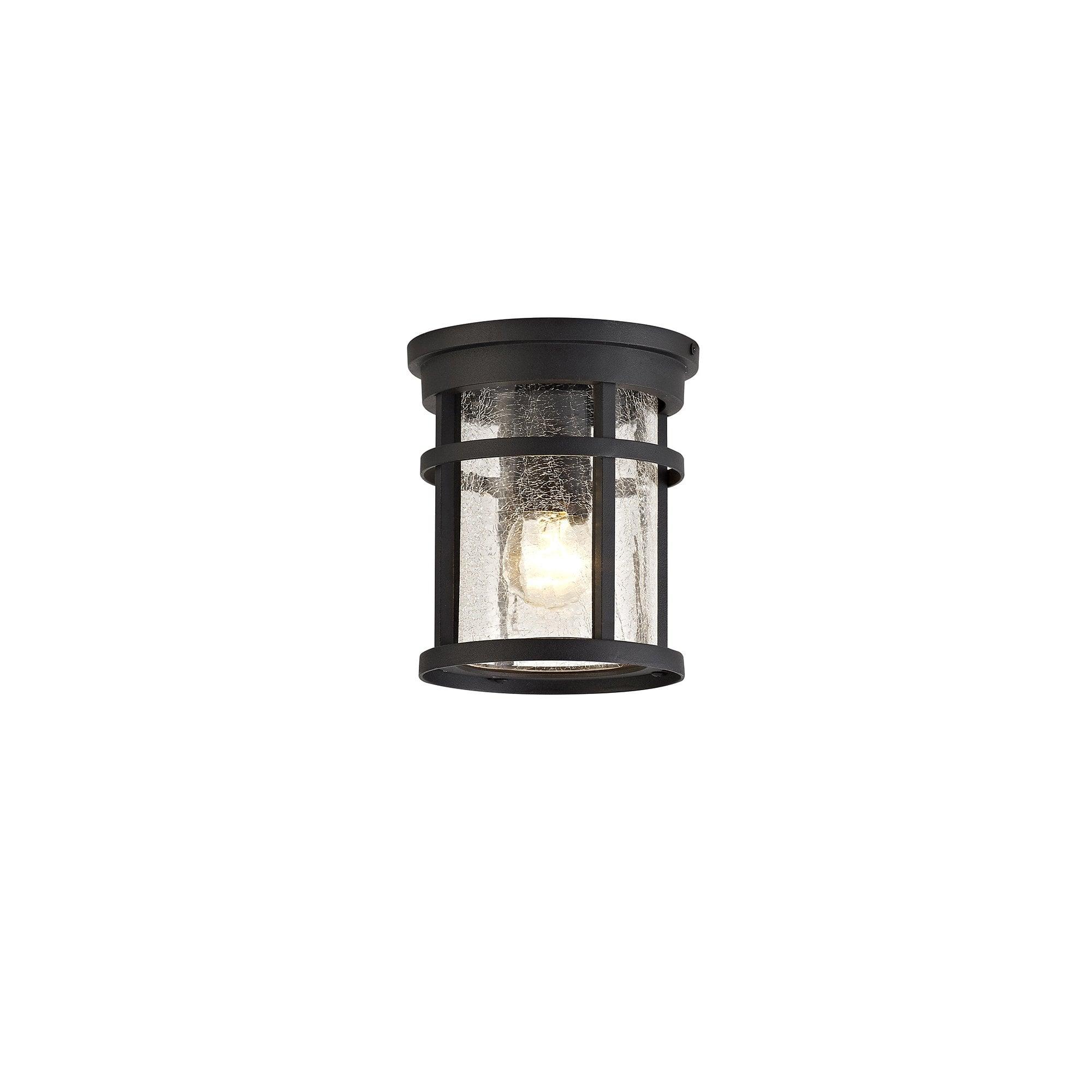 Outdoor Ceiling Light Black Crackled Glass Lighting And Lights Uk