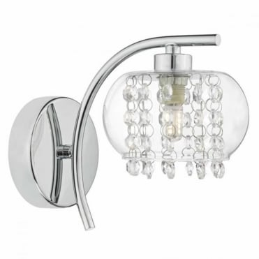 ELMA - Wall Light in Polished Chrome and Glass , Switched