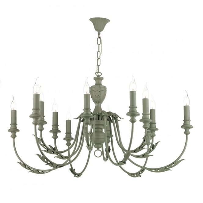 EMILE 12 Light Ceiling Pendant, Rustic French in Ash Grey
