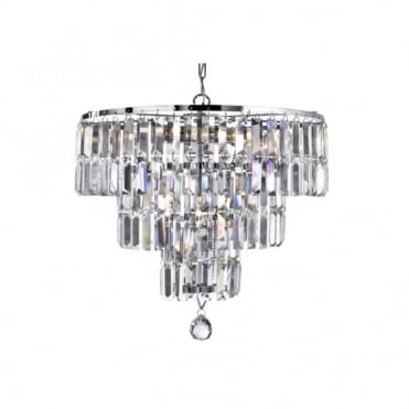 EMPIRE - 5 Light Chandelier Chrome With Clear Crystal Baguette Drops