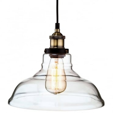 EMPIRE - Antique Brass With Clear Glass Ceiling Pendant