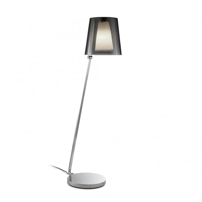 EMY - Smokey Grey and Opal Glass Switched Adjustable Floor Lamp