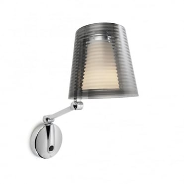 EMY - Smokey Grey and Opal Glass Switched Adjustable Wall Light