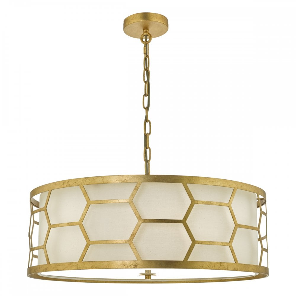 best sneakers 050d6 cb618 EPSTEIN 4 Light Ceiling Pendant Gold Honeycomb With Ivory Shade and Diffuser