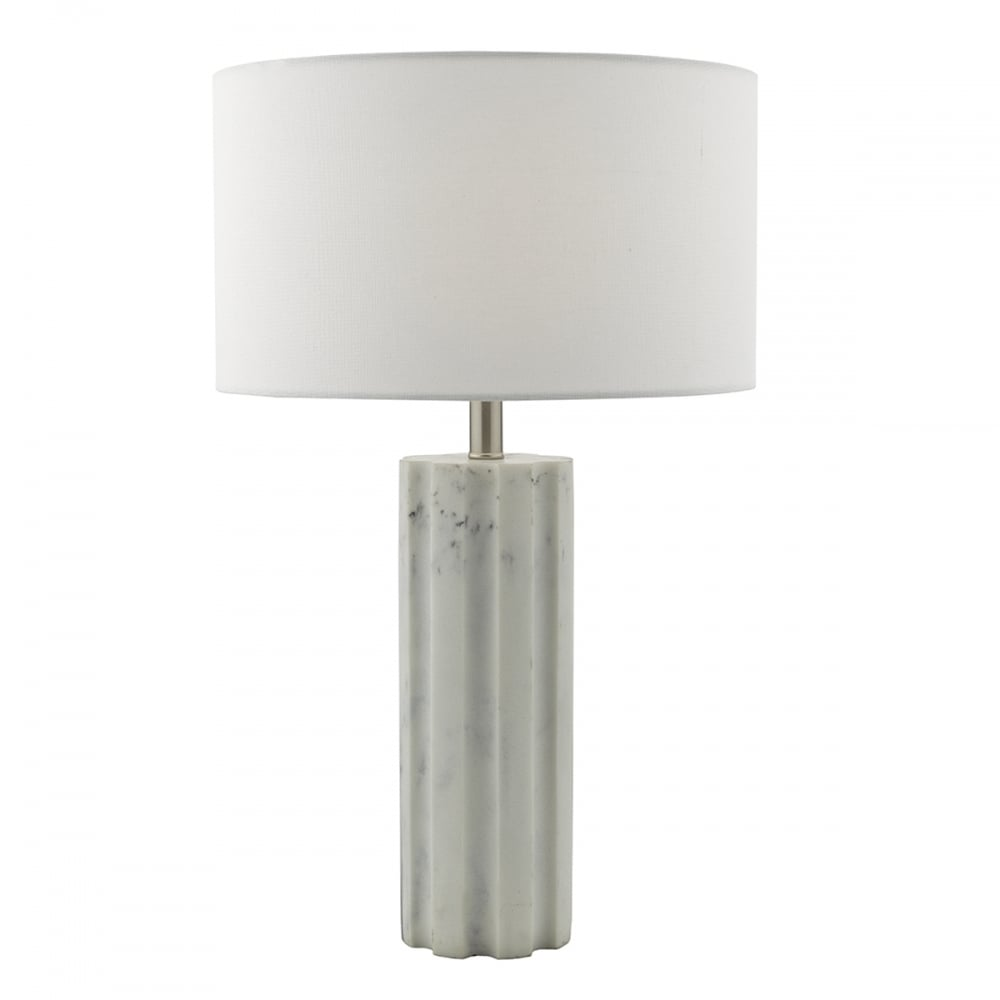 Marble white tall table lamp lighting and lights uk erebus table lamp marble effect satin chrome complete with shade white marble effect aloadofball Image collections