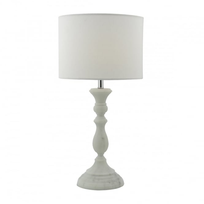 ERMIN - Table Lamp Marble Effect Complete With Shade White Marble Effect