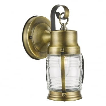 ERNEST Traditional Nautical Exterior Wall Light Antique Brass Clear Glass