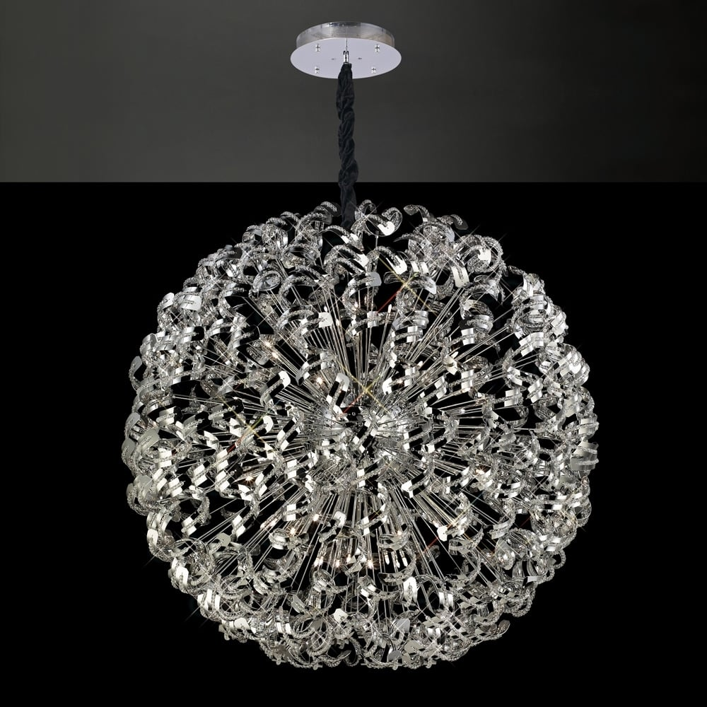 80cm Diameter Large Ceiling Pendant Sphere Chrome Crystal