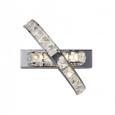 ETERNITY - Modern Chrome and Crystal Wall Light , Switched