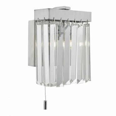 EUGENE - Polished Chrome and Crystal Wall Light , Switched