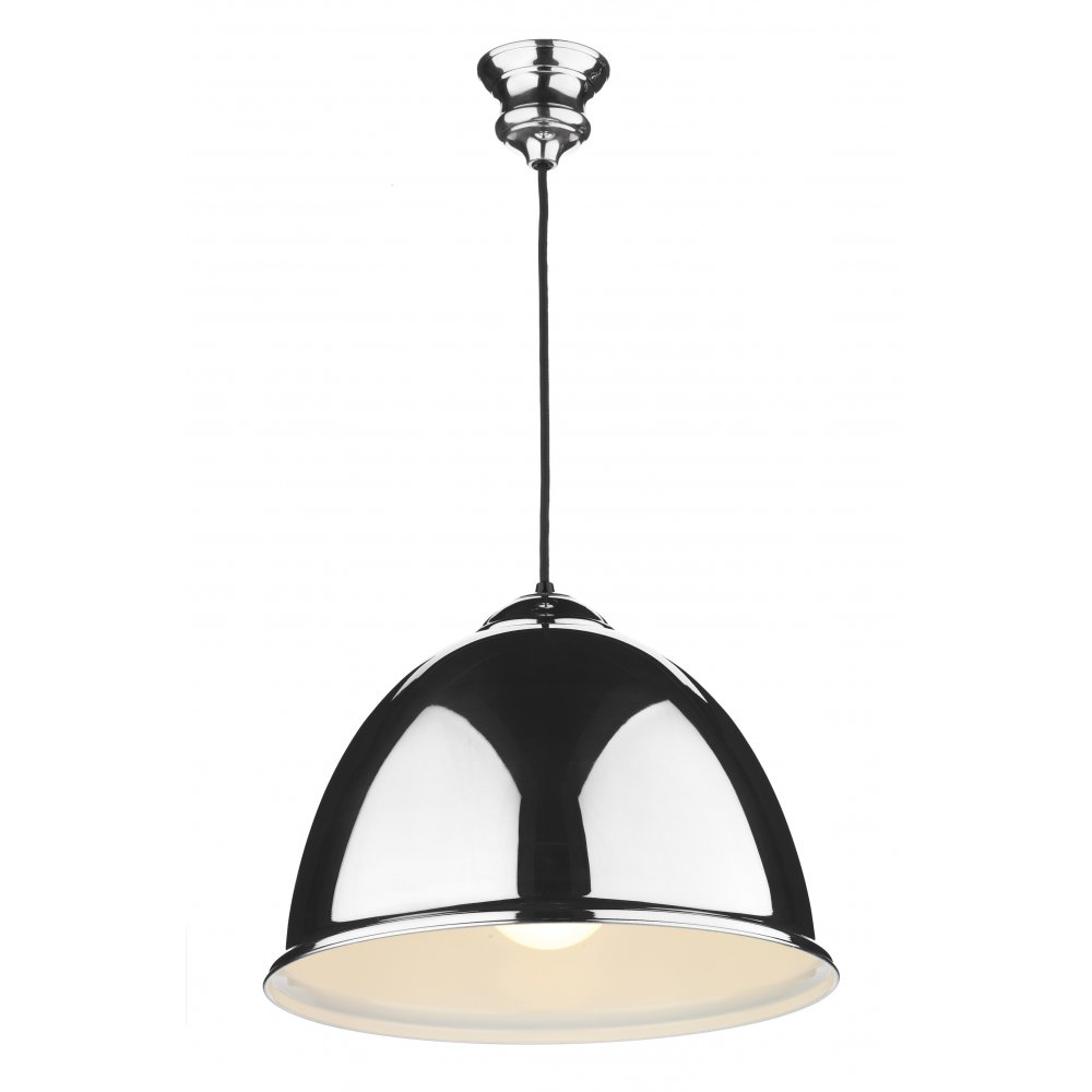 EUSTON   Double Insulated Chrome Ceiling Pendant With Black Cable