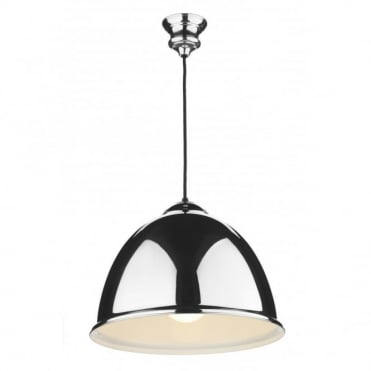 EUSTON - Double Insulated Chrome Ceiling Pendant with Black Cable