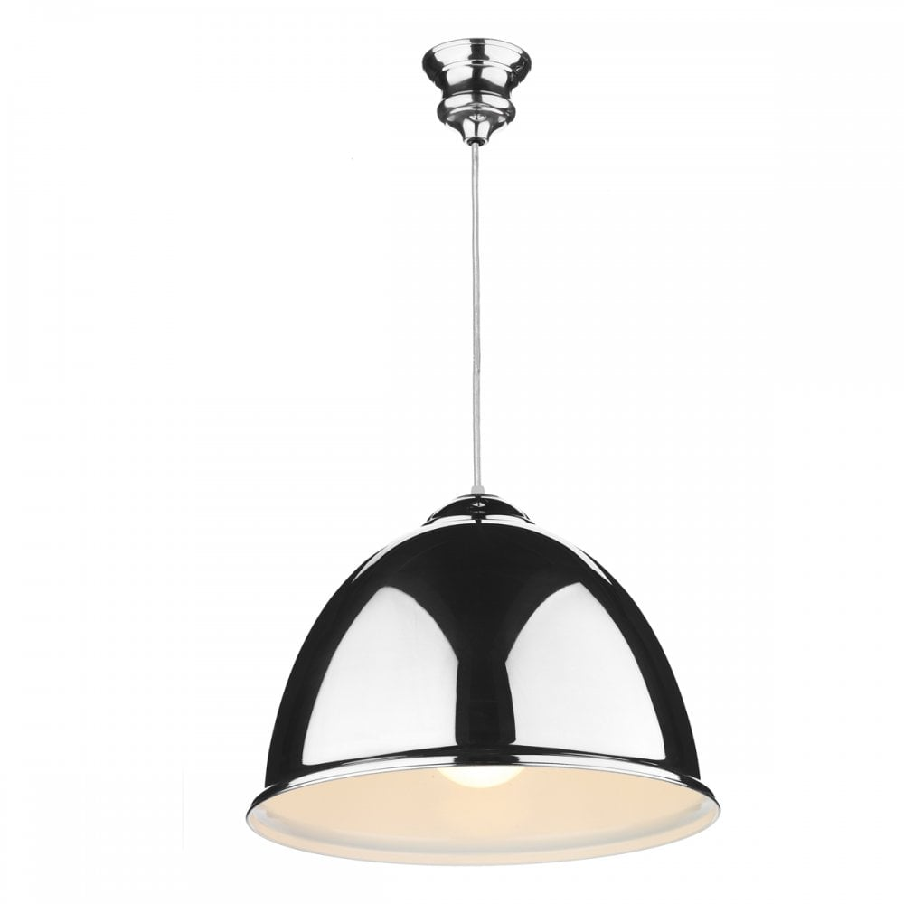 EUSTON Double Insulated Chrome Ceiling Pendant with Clear Cable
