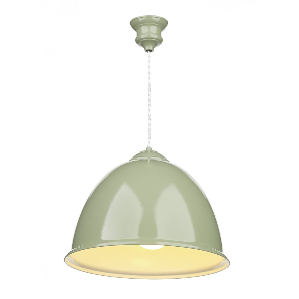 Retro ceiling pendant light in olive green finish with white inner euston double insulated olive green ceiling pendant aloadofball Images