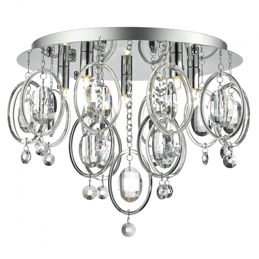 flush polished chrome glass ceiling light lighting and lights uk