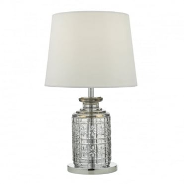 EVITA - Touch Dimmer Glass Table Lamp With White Shade