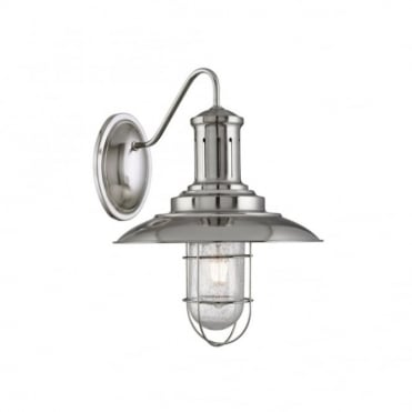 FISHERMAN - Caged Wall Light Satin Silver Seeded Glass