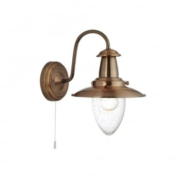 FISHERMAN - Nautical Copper Wall Light With Seeded Glass Shade and Switch