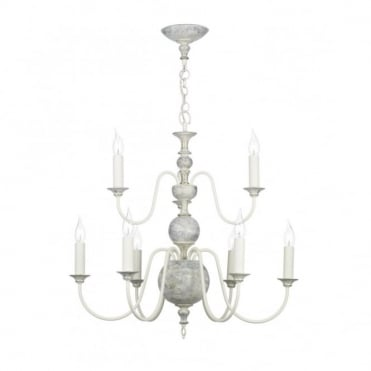FLEMISH - Distressed Finish Ceiling Light in Cream/Ivory