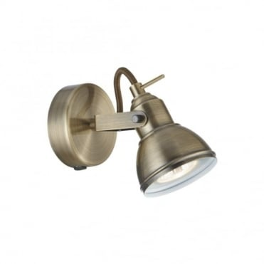FOCUS - 1 Light Antique Brass Industrial Spotlight Wall Light , Switched