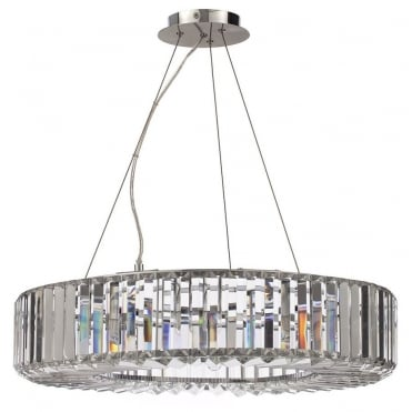 FOYLE - Large Chisel Crystal Bathroom Ceiling Pendant with LED Bulbs Included