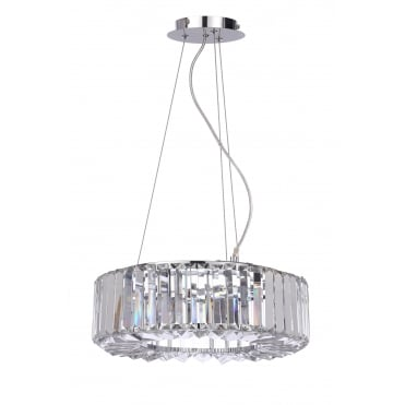 FOYLE - Small Chisel Crystal Bathroom Ceiling Pendant with LED Bulbs Included