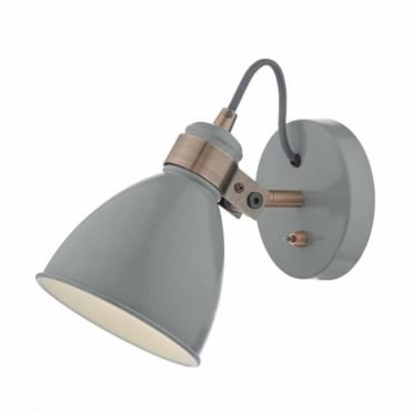 FREDERICK - Grey Copper Wall Light , Switched