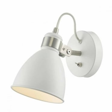 FREDERICK - White Satin Chrome Wall Light , Switched