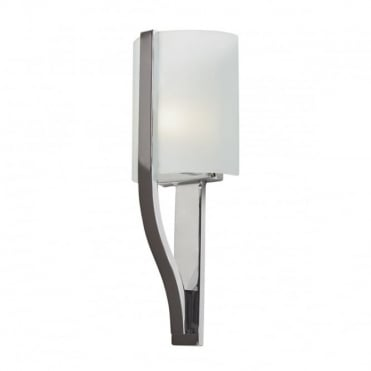 FREEPORT Modern Bathroom Wall Light Polished Chrome White Glass Shade