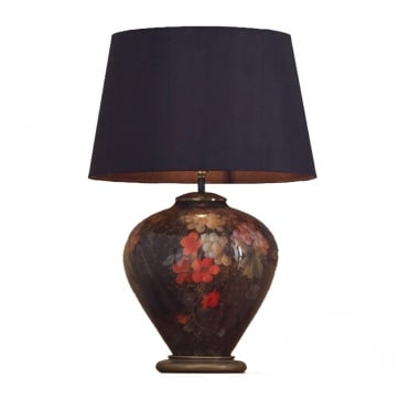 FRUIT & Flower Ginger Jar Table Lamp with Silk Tapered Shade Black 40cm