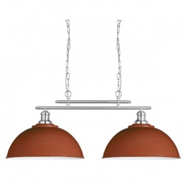 FUSION - 2 Light Ceiling Bar Satin Silver Russet Metal Shades