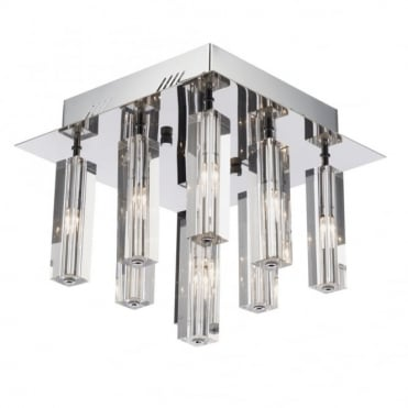 GALILEO - Square Chrome and Crystal Light For Low Ceilings