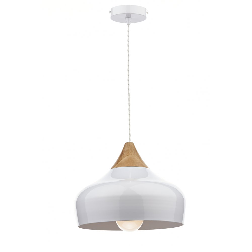 Gaucho white and wood ceiling pendant