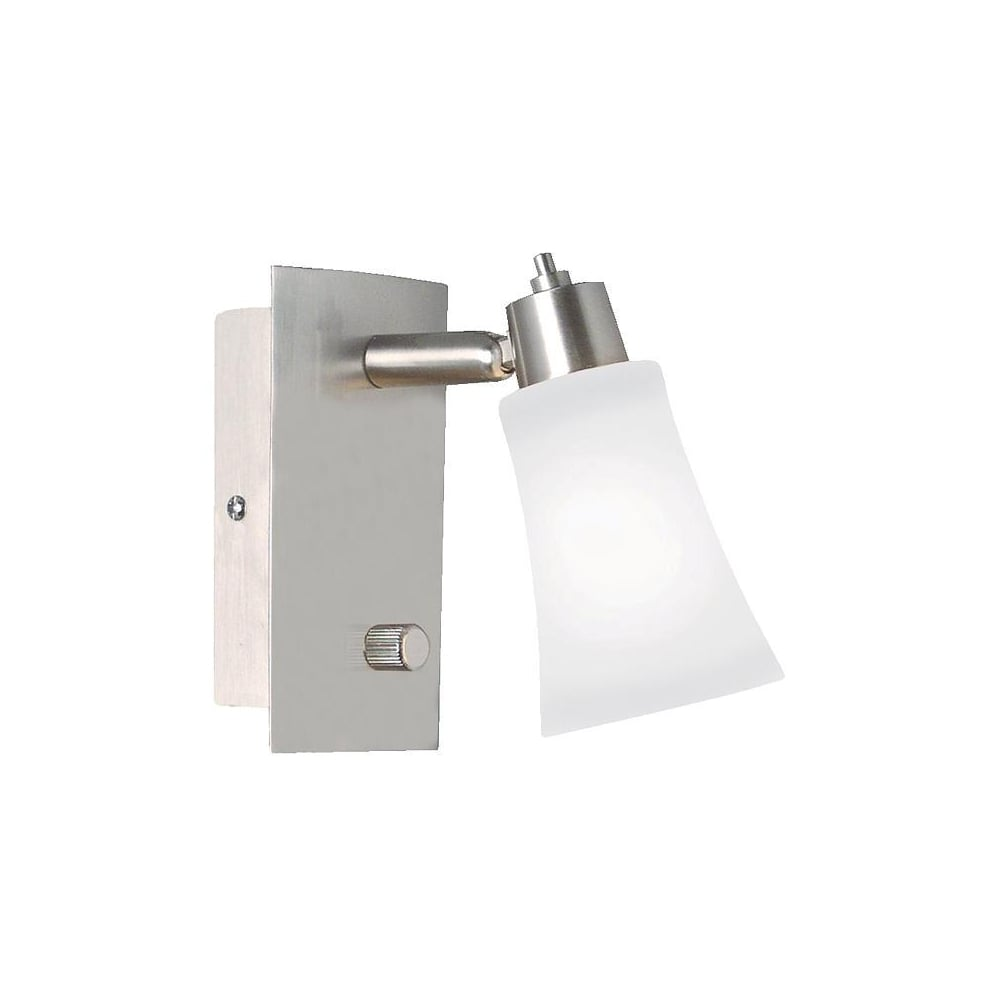 Brushed steel dimmable wall light opal glass lighting and lights uk gibraltar brushed steel dimmable wall light opal glass switched aloadofball Image collections