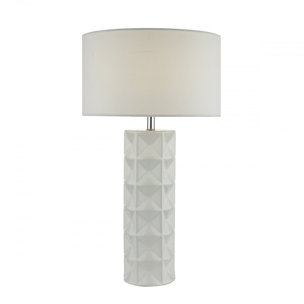 Large White Table Lamp Geometric Complete Lighting And
