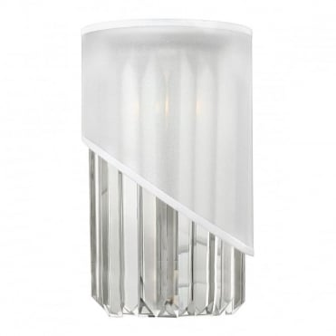 GIGI Wall Light Polished Nickel Asymmetric White Organza Shade Crystal