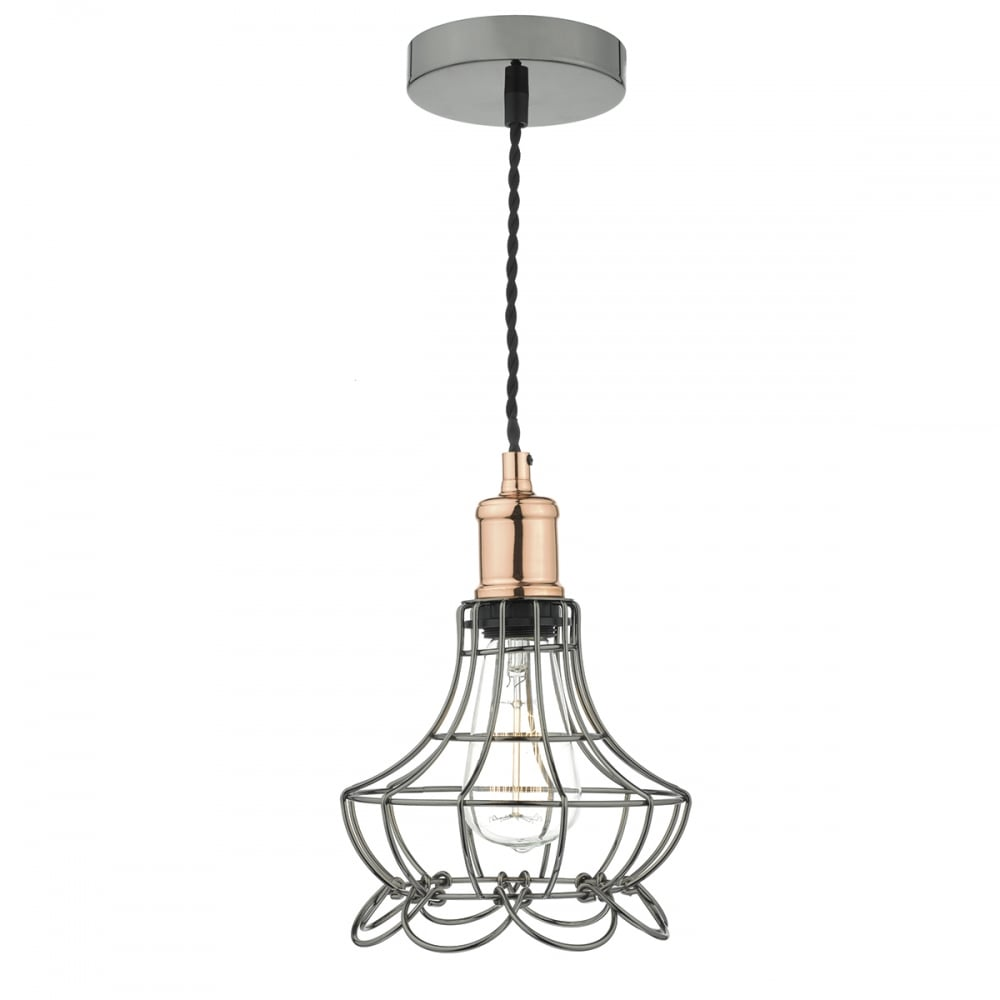 Ginny cage ceiling pendant in black chrome with copper detailing mozeypictures Image collections
