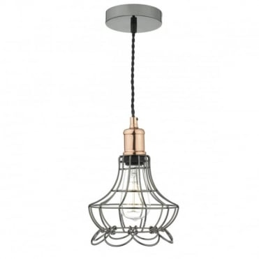 GINNY - Cage Ceiling Pendant In Black Chrome With Copper Detailing