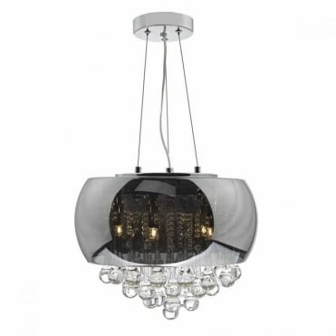 GISELLE - 5 Light Smoked and Clear Glass Ceiling Pendant