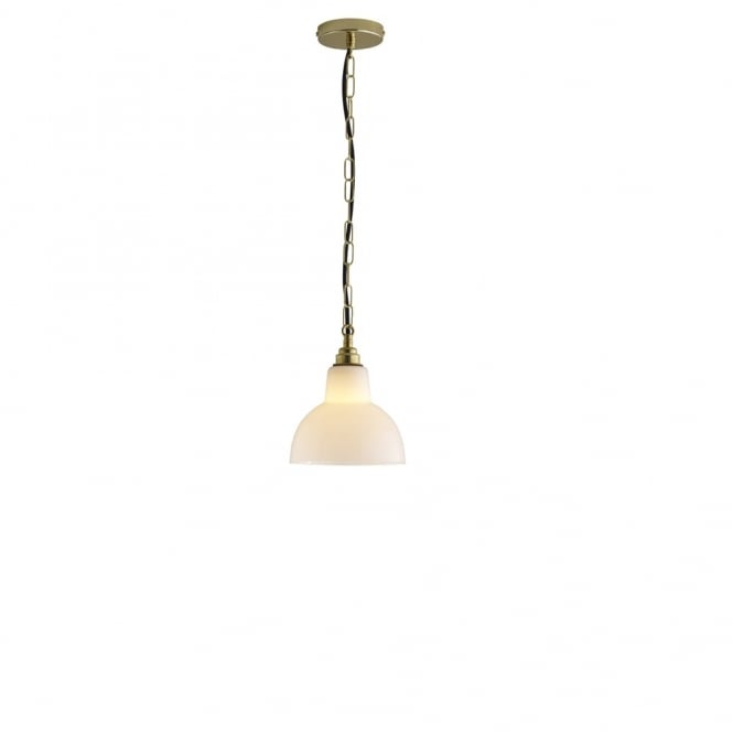 GLASS - York Ceiling Pendant 1 Opal Brass in Antique Brass