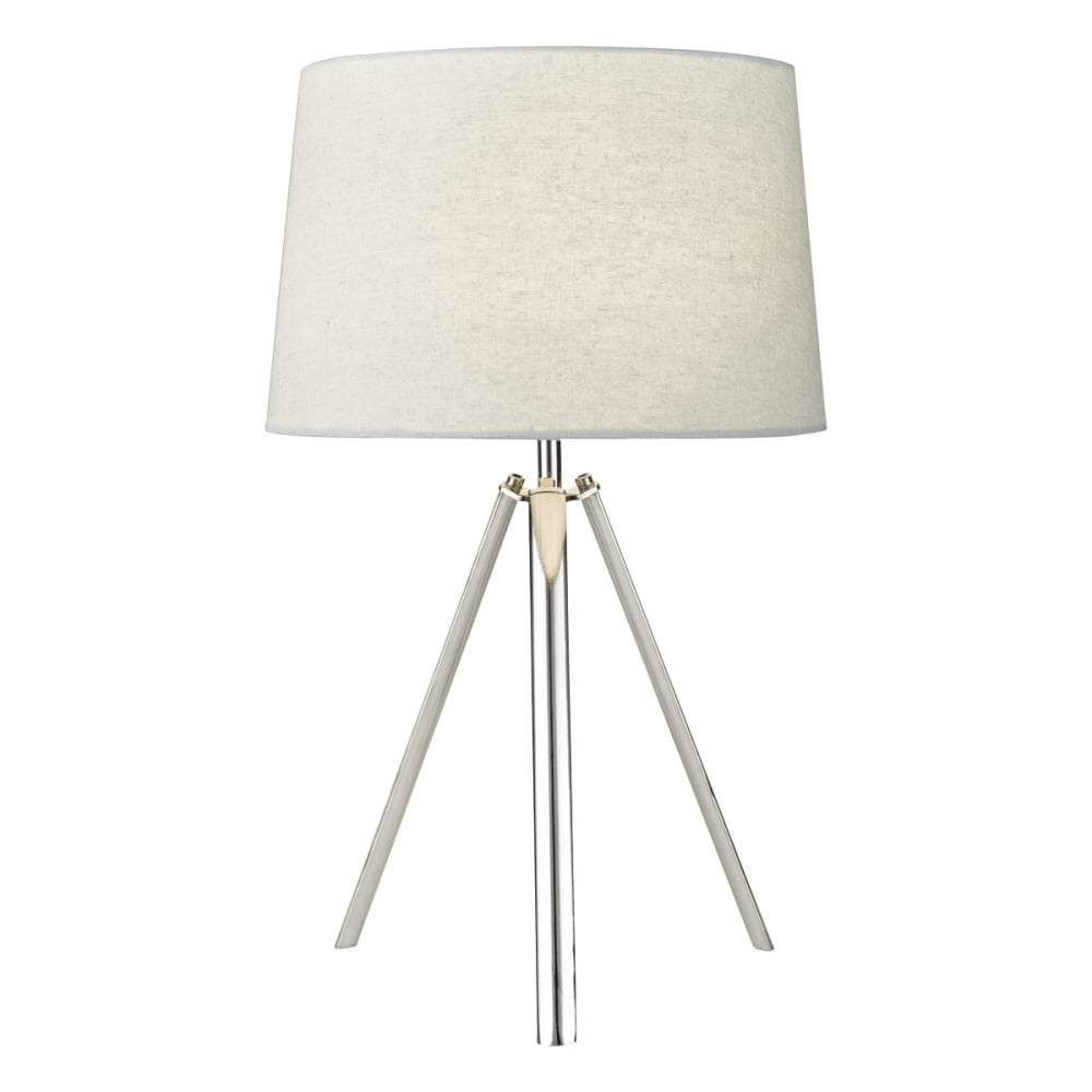 Griffith industrial tripod table lamp polished chrome with grey shade aloadofball Image collections