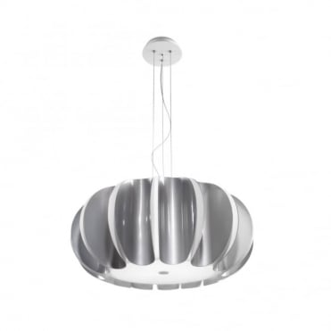 BLOMMA - Modern 3 Light Silver and Matte White Ceiling Pendant