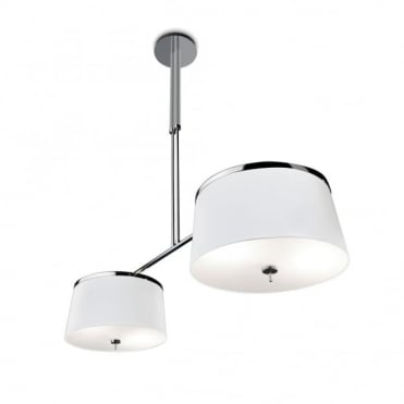 LEILA - 2 Light Bistro Style Ceiling Pendant Chrome and White