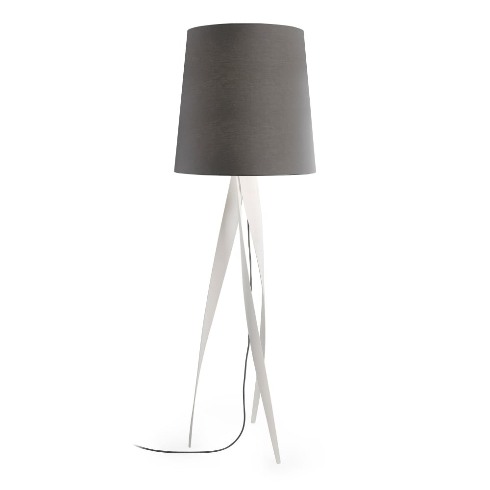 Contemporary floor lamp matte white with tall grey shade medusa contemporary floor lamp matte white with tall grey shade aloadofball Images