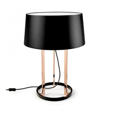 PREMIUM - Large Black and Polished Copper Table Lamp