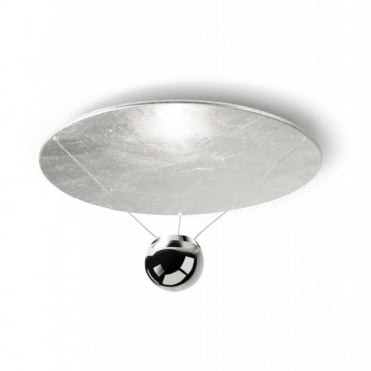 SINGLE - Contemporary LED Ceiling Uplighter White Silver