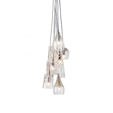 GROUP - Of 7 Lead Crystal Ceiling Pendant Lights With Silver Suspension