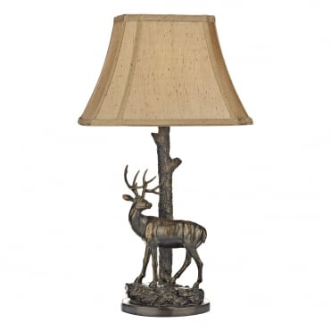 GULLIVER Deer Table Lamp in Aged Brass with Gold Textured Shade